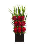 Elegant Rose Artificial Arrangement in Black Vase - £64.25 GBP