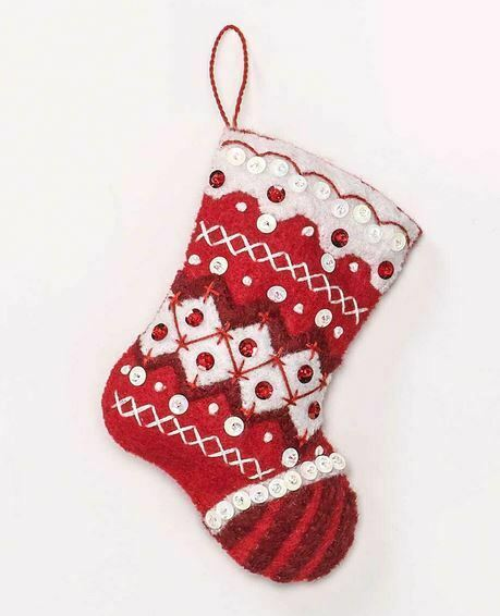 Primary image for Bucilla 'Nordic Christmas' Felt Red and White Christmas Stocking Kit, 89066E