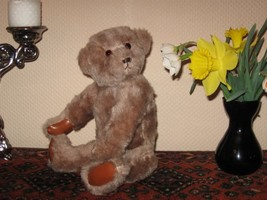 Vintage Germany OOAK Mohair Bear Leather Paws Glass Eyes 15 inch - $250.00