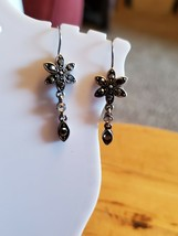 Silver Tone Hook Dangle Earrings Flower Marcasite Encrusted Floral Theme Fashion - $7.52