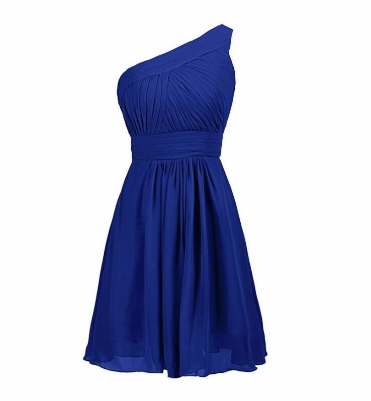 Primary image for Royal Blue Chiffon Short Homecoming Dress One Shoulder Wedding Bridesmaid Dress