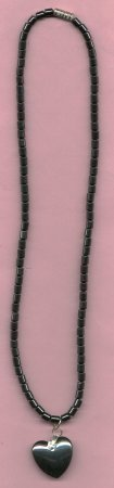 HEMATITE SOLD HEART NECKLACE