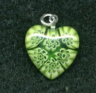 GREEN MILLEFIORI HEART PENDANT