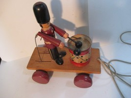 VTG  1983 Louise Nicole Drummer Toy Soldier on Wood Wagon - $4.94