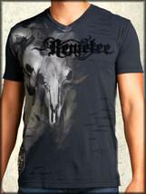 Remetee Buck Hunter Deer Skulls Moon Night Shadow Mens V-Neck T-Shirt Black NEW - $57.71