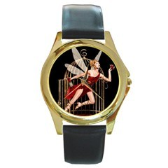 CAMPARI LIQUEUR SEXY RED FAIRY GOLD-TONE WATCH LEATHER