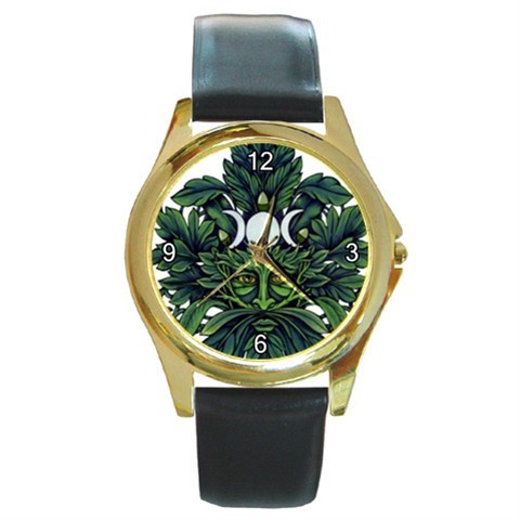 GREEN MAN WICCAN WICCA GOLD-TONE WATCH - NICE!