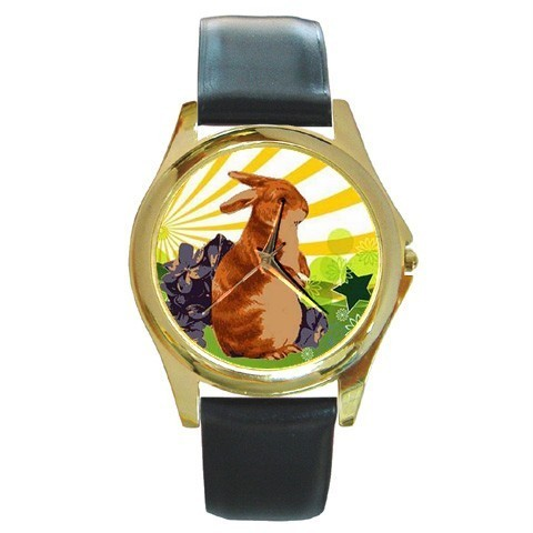 EASTER SPRING BUNNY RABBIT PRETTY GOLD-TONE WATCH NEW!