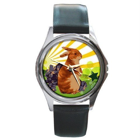 EASTER SPRING BUNNY RABBIT PRETTY SILVER-TONE WATCH NEW