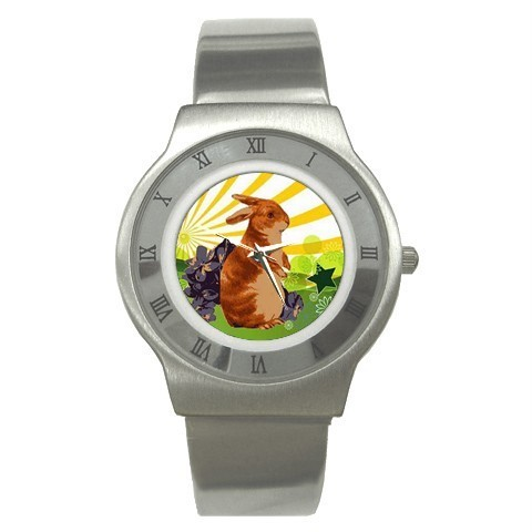 EASTER SPRING BUNNY RABBIT STAINLESS STEEL WATCH NEW