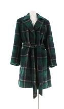 Isaac Mizrahi Brushed Plaid Snap Front Coat Belt Evergreen 24W NEW A281470 - $109.87