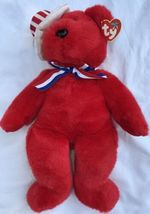 "SAM THE RED BEAR BEANIE BUDDY 2004 MWMT 14"" Patriotic Stars & Stripes Hat image 5"
