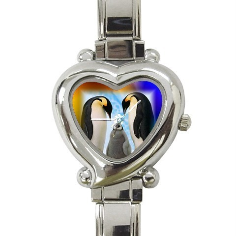 PENGUIN FAMILY & BABY HEART CHARM WATCH ADORABLE! NEW!