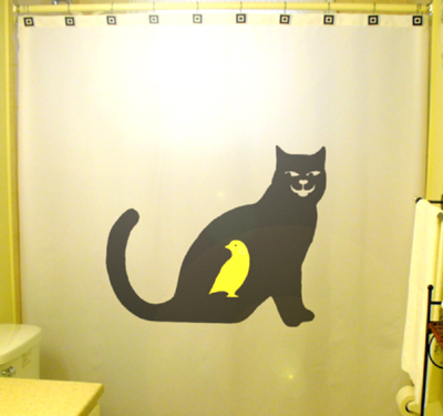 SHOWER CURTAIN Cat That Ate Canary yellow bird black