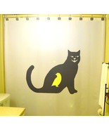 SHOWER CURTAIN Cat That Ate Canary yellow bird black - $65.00