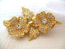Joan Rivers Combination Clip Earrings or Pin Brooch Goldtone Crystal Flo... - $22.99