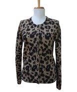 APT. 9 Tan and Black Animal Print 100% Cashmere Cardigan/Sweater - Sz M - $49.49