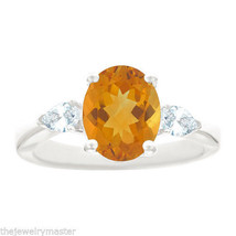 CITRINE & PEAR SHAPE DIAMOND ENGAGEMENT RING WHITE GOLD OVAL 10mmx8mm 2.... - €1.293,46 EUR