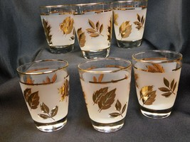 """Six (6) Frosted Mid-Century 5oz Juice Glasses Gold Foliage & Trim 3.5"""" Tall VGC - $14.97"""