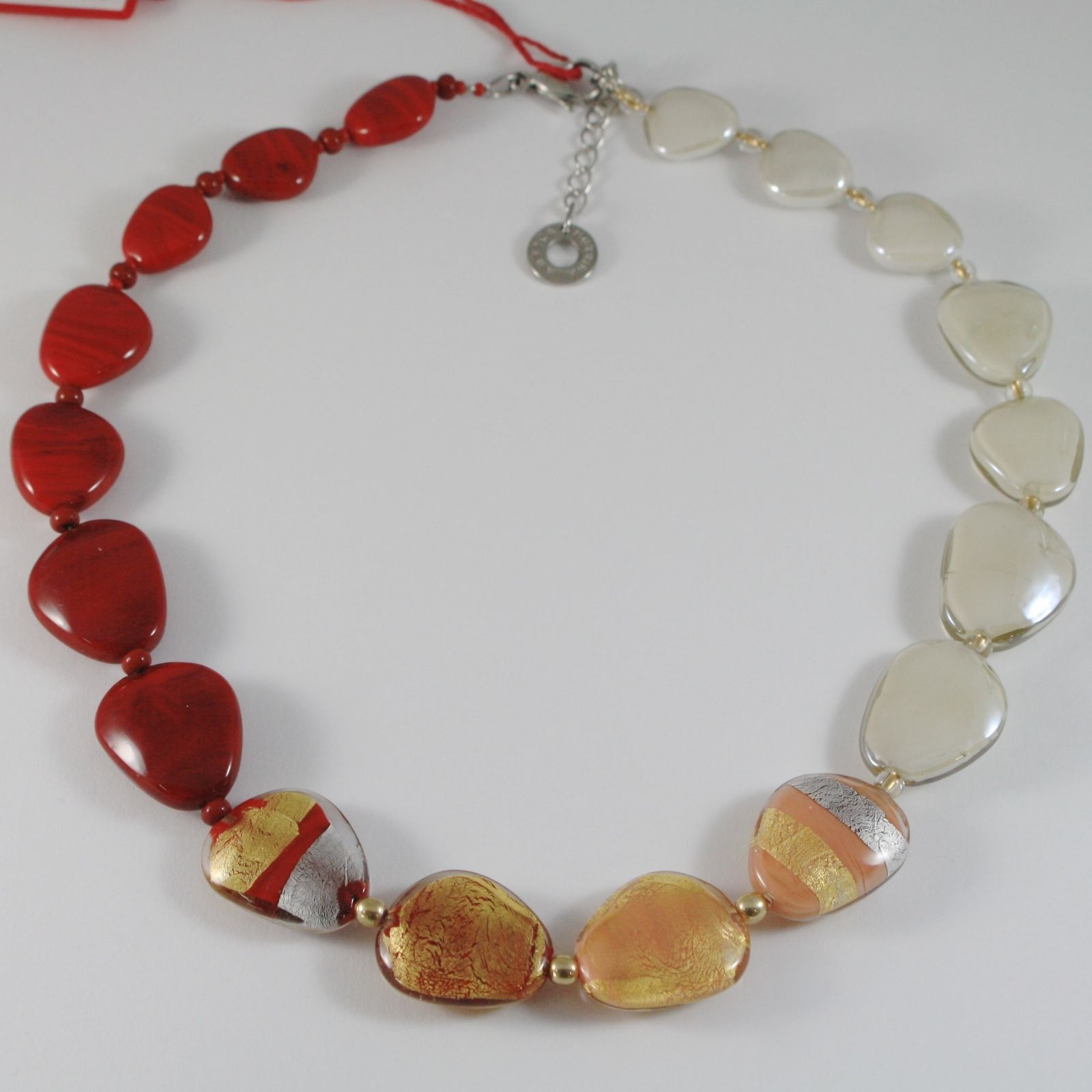 ANTICA MURRINA VENEZIA STRIPED NECKLACE, RED, WHITE, BROWN AND GOLD FLAT DROPS