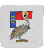 Embroidered Cushion Pillow Cover Marine Art Throw Pillow NC Flag and Pelican - $19.95