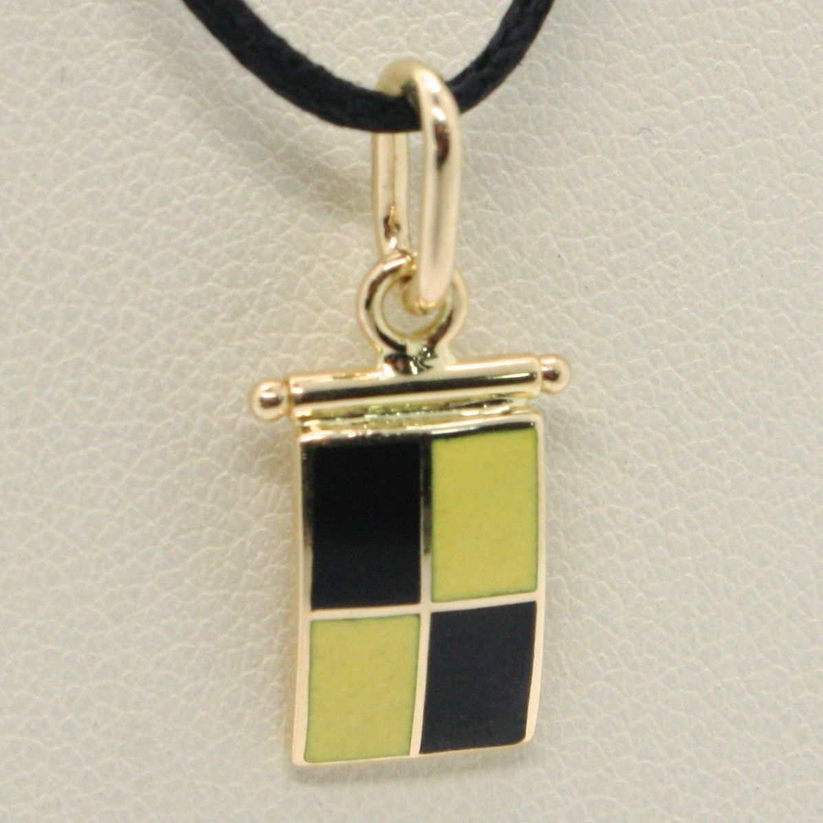 18K YELLOW GOLD NAUTICAL GLAZED FLAG LETTER L PENDANT CHARM MEDAL MADE IN ITALY