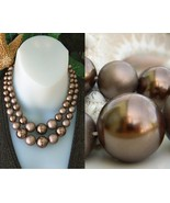 Vintage Choker Necklace Metallic Bronze Brown 2 Strands Beads Japan - $27.95