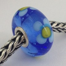 Authentic Trollbeads Ooak Murano Glass Unique Blue Yellow Flower Bead Ch... - $33.24