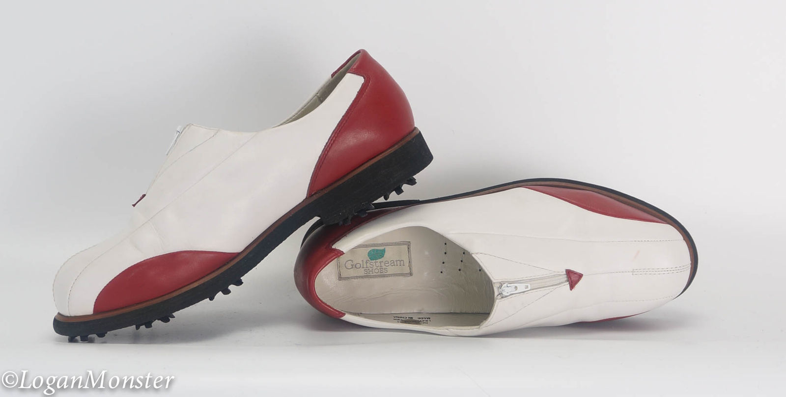 ec6fb30da0b Golfstream 8 1 2 Womens White Red Zipper Leather Golf Shoes -  30.00