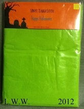 Lime Light Green Vinyl Halloween Tablecloth rectangular 52 by 70 inches ... - €3,48 EUR