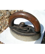 Antique Small Clothes Sad Iron Wood handle ruffles Child - $99.99