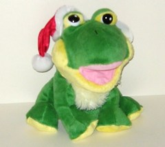 1/2 Price! CalToy Cal Toy Green and Yellow Santa Hat Frog Plush Hand Puppet - $4.00