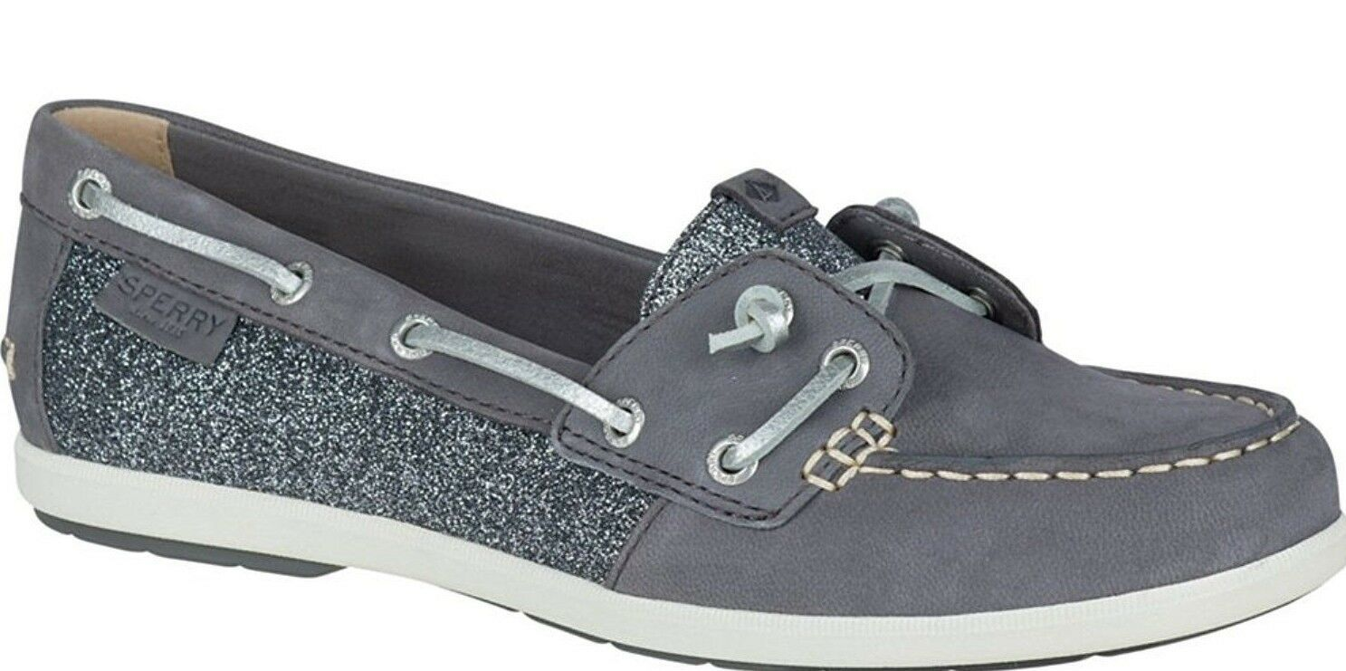 Sperry Top-Sider Women's Coil Ivy Dark Grey Leather Sparkle Boat Shoes STS99659