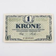 1920 Dinamarca 1 Krone Nota Crisp - $39.64