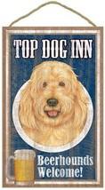 "Top Dog Inn Beerhounds Goldendoodle Bar Sign Plaque dog 10""x16""  Beer - $21.95"