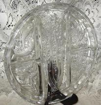Divided Relish Dish-Clear Glass- Embossed Five Sections/ Five Designs - $21.00
