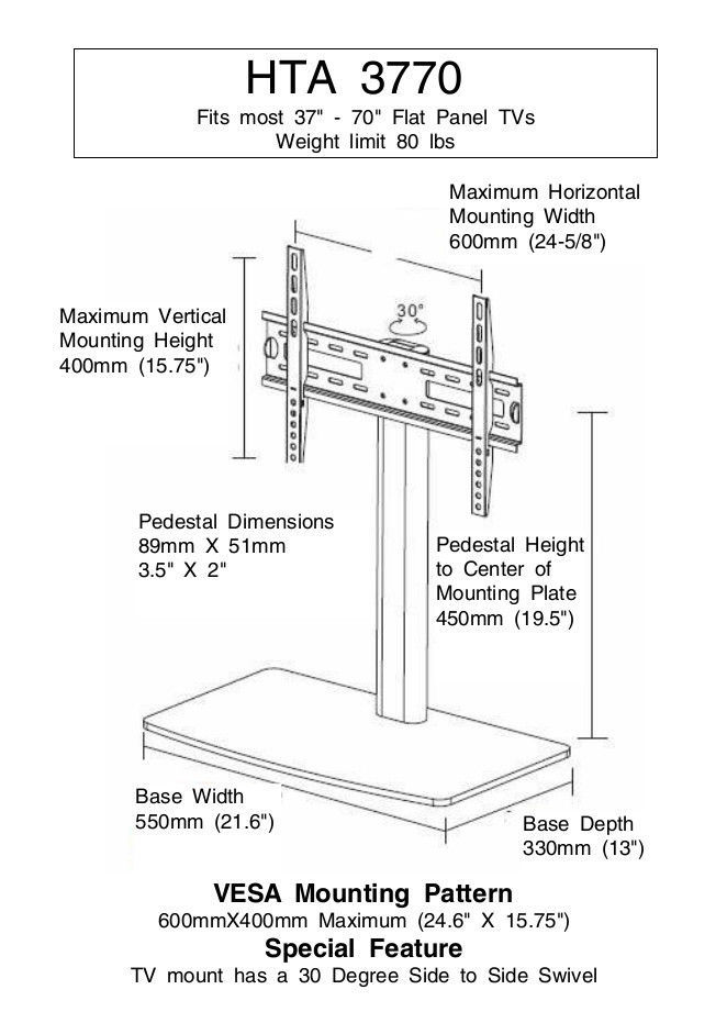 New Replacement Swivel TV Stand/Base for Vizio VP422HDTV10A