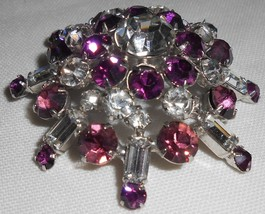 VINTAGE Crystal/Purple Rhinestone DOMED PRONG SET Brooch/Pin - $31.67