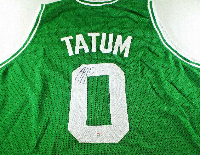 JAYSON TATUM / AUTOGRAPHED BOSTON CELTICS GREEN CUSTOM BASKETBALL JERSEY / COA