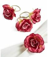 4 Martha Stewart Roses Flower Napkin Rings Holders Deep Pink NWT FREE SH... - $34.64