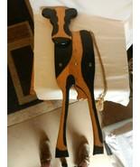 "Oak Wooden Cow Wall Quartz Clock Black & Brown 30"" Tall from Indonesia - $99.00"