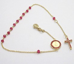 18K YELLOW GOLD ROSARY BRACELET, FACETED RED RUBY ROOT, CROSS & MIRACULOUS MEDAL image 1