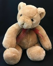 "Commonwealth Toy Teddy Bear 10"" Stuffed Animal 2002 Beige Plush Red Bow - $19.75"