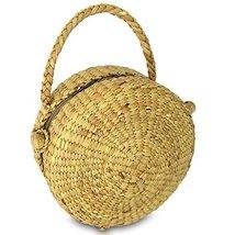 Handwoven Straw Round Shape Tote Purse Bag, Boho Summer Beach Picnic Bas... - $37.99