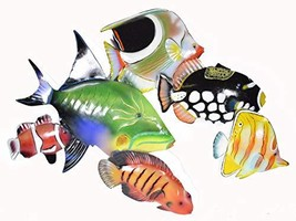 Beautiful Unique Rainbow Nautical School Of Fish Contemporary Metal Wall Art - $39.59