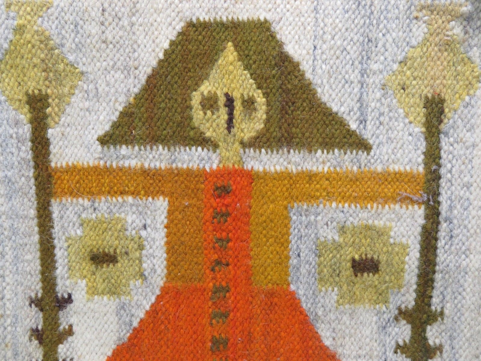 Vtg Handwoven Wool Poland Folk Art Rug Tapestry Cepelia Girl Woman Wanda  Tags
