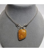 925 Sterling Silver Pendant Butterscotch Jasper Natural Stone Necklace K... - $36.61