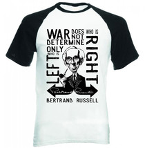 BERTRAND RUSSELL WAR QUOTE - NEW COTTON BASEBALL TSHIRT - $26.60