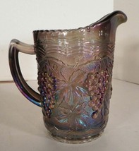 Imperial IG GRAPE AND CABLE Smoke Milk Pitcher Carnival Glass 16-oz - $21.73