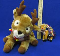 Vintage Christmas Hallmark Rascal The Reindeer Plush & Rudolph Clip Plush Lot 2 - $12.22